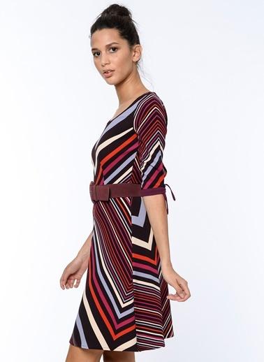 Çizgi Desenli Kloş Elbise-Bovona
